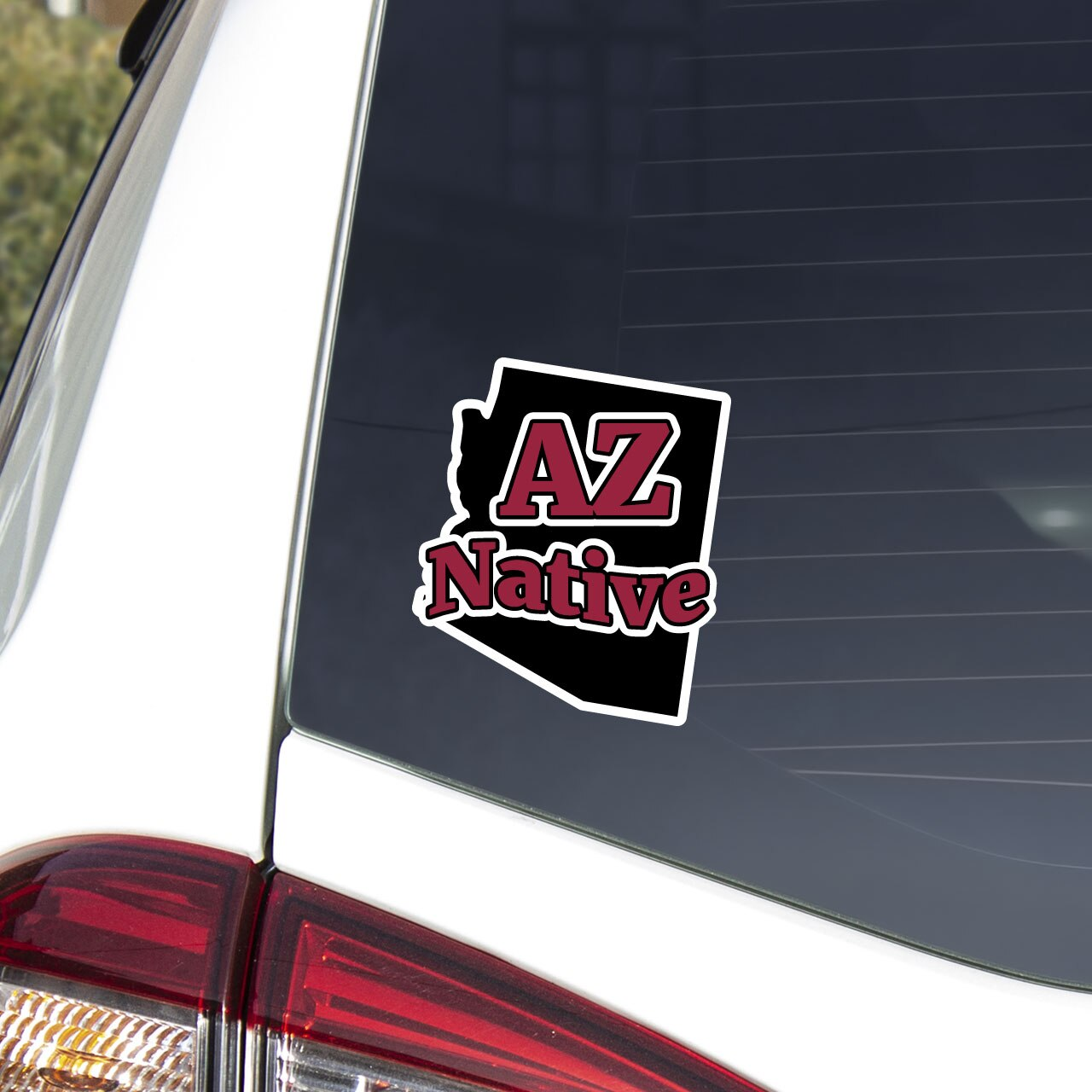 Arizona native decal on car window