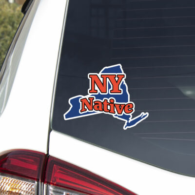 NY Native decal on car window