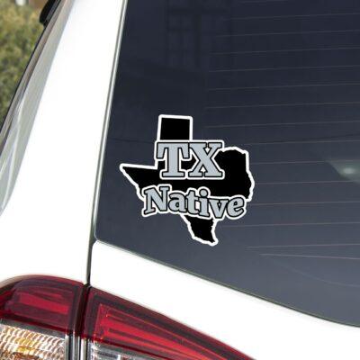 TX Native decal on car window