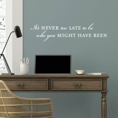 It's never too late to become who you might have been vinyl lettering layout in white on blue wall over desk with a lamp and monitor