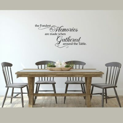 The fondest memories are made when gathered around the table in black vinyl lettering on a  white wall over a dining table