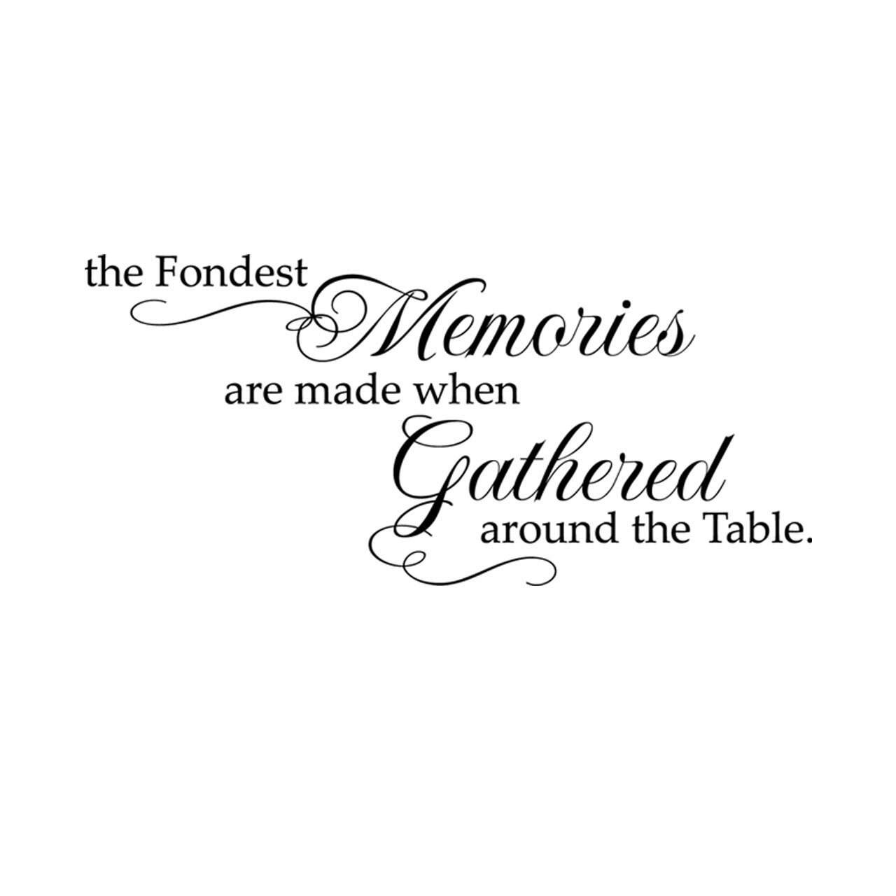 The fondest memories are made when gathered around the table written in black on a white background