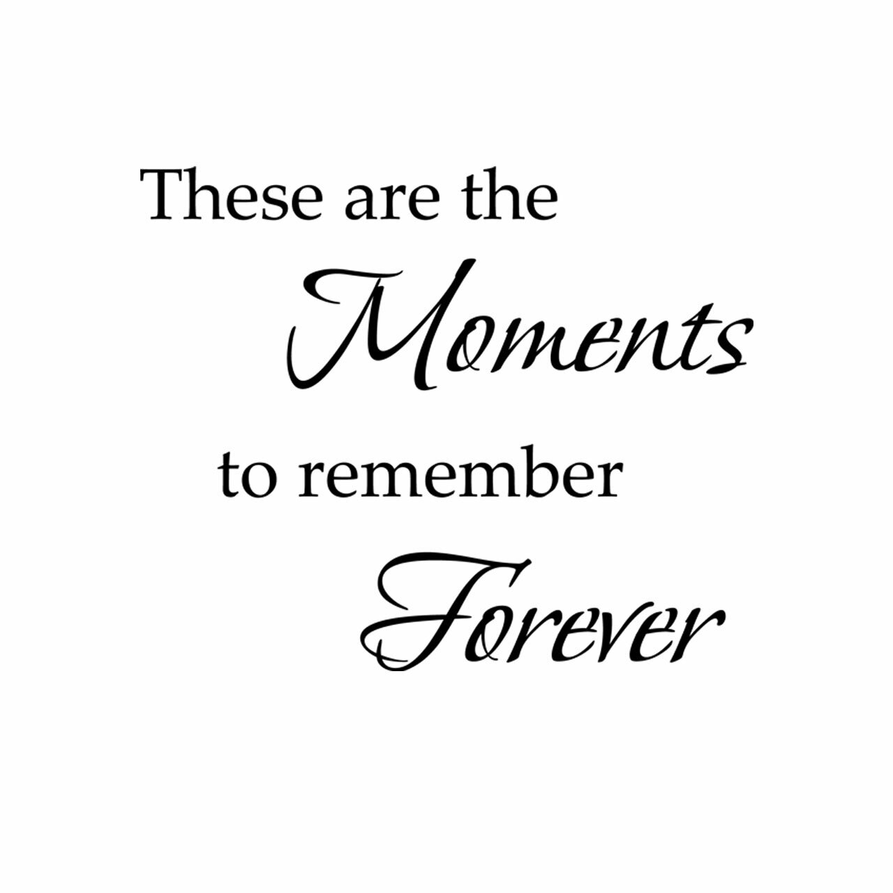 These are the moments to remember vinyl lettering layout in black on a white background