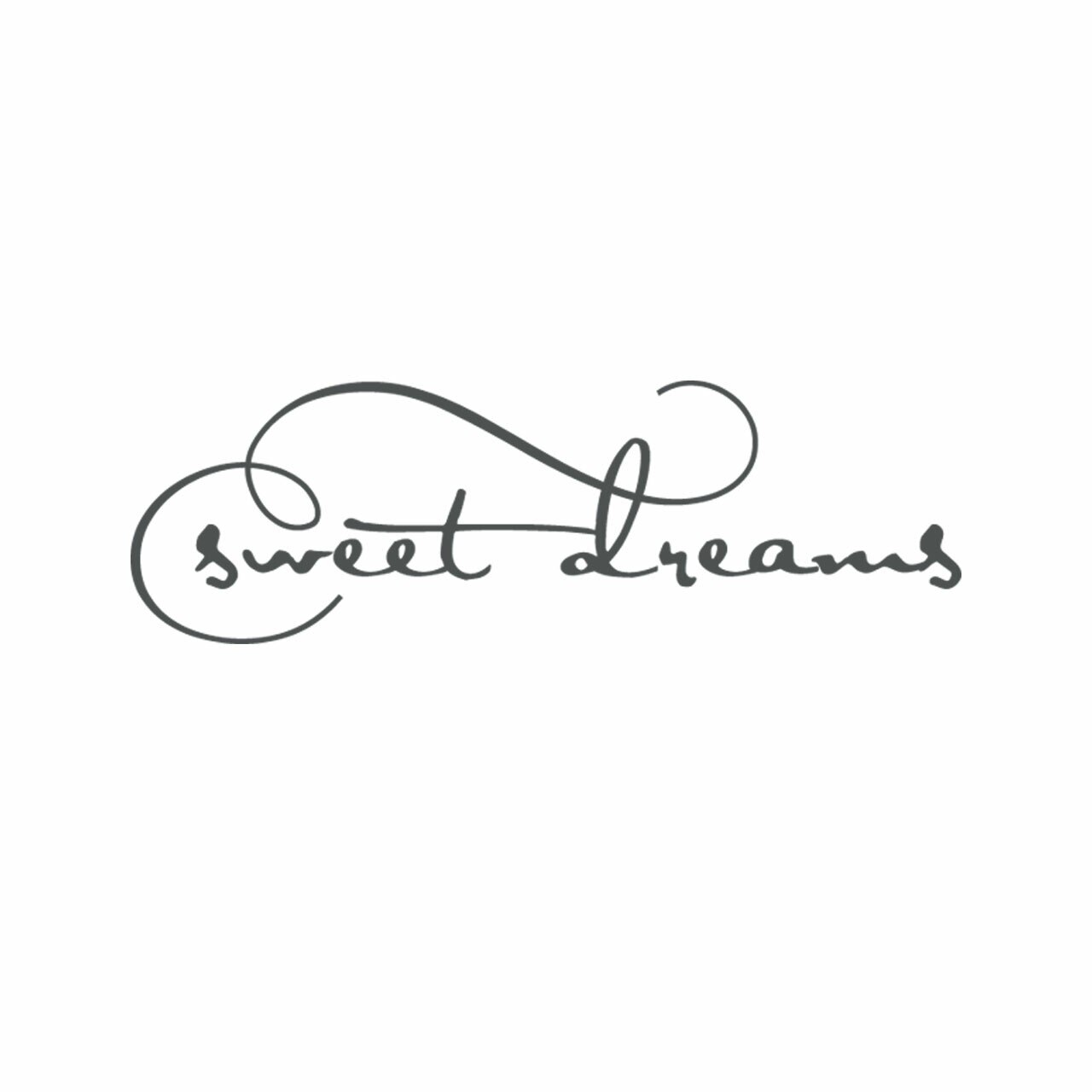 Sweet dreams vinyl lettering layout in charcoal grey on a white background