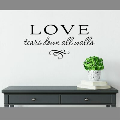 Love tears down all walls vinyl lettering layout in black applied to a white wall over a grey console table with a white vase holding a green plant