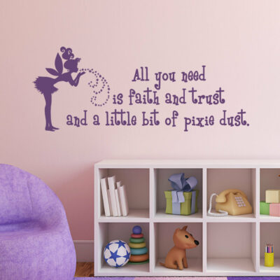 Vinyl Layout featuring fairy and wording about faith trust and pixie dust on a pink wall over a white organizer