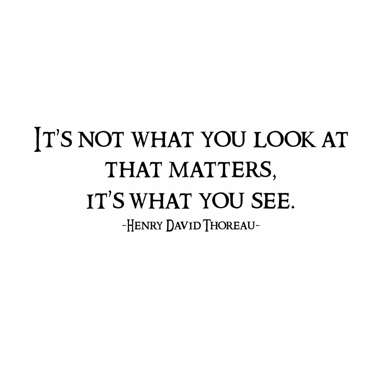 It's not what you look at it's what you see -Henry David Thoreau written in black on a white background