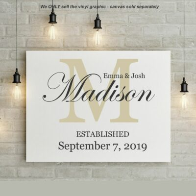 The name Emma & Josh Madison written in black superimposed on a Beige colored letter M all above established September 7, 2019 on a white background
