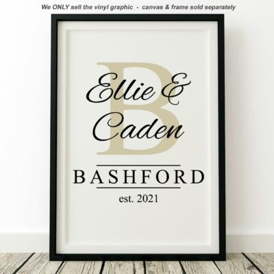 The name Ellie & Caden written in black superimposed on a Beige colored letter B all above the last name Bashford est. 2021 on a white canvas with a black frame