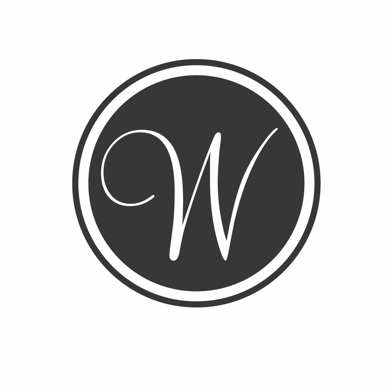 Single letter circular monogram with the letter W in charcoal grey