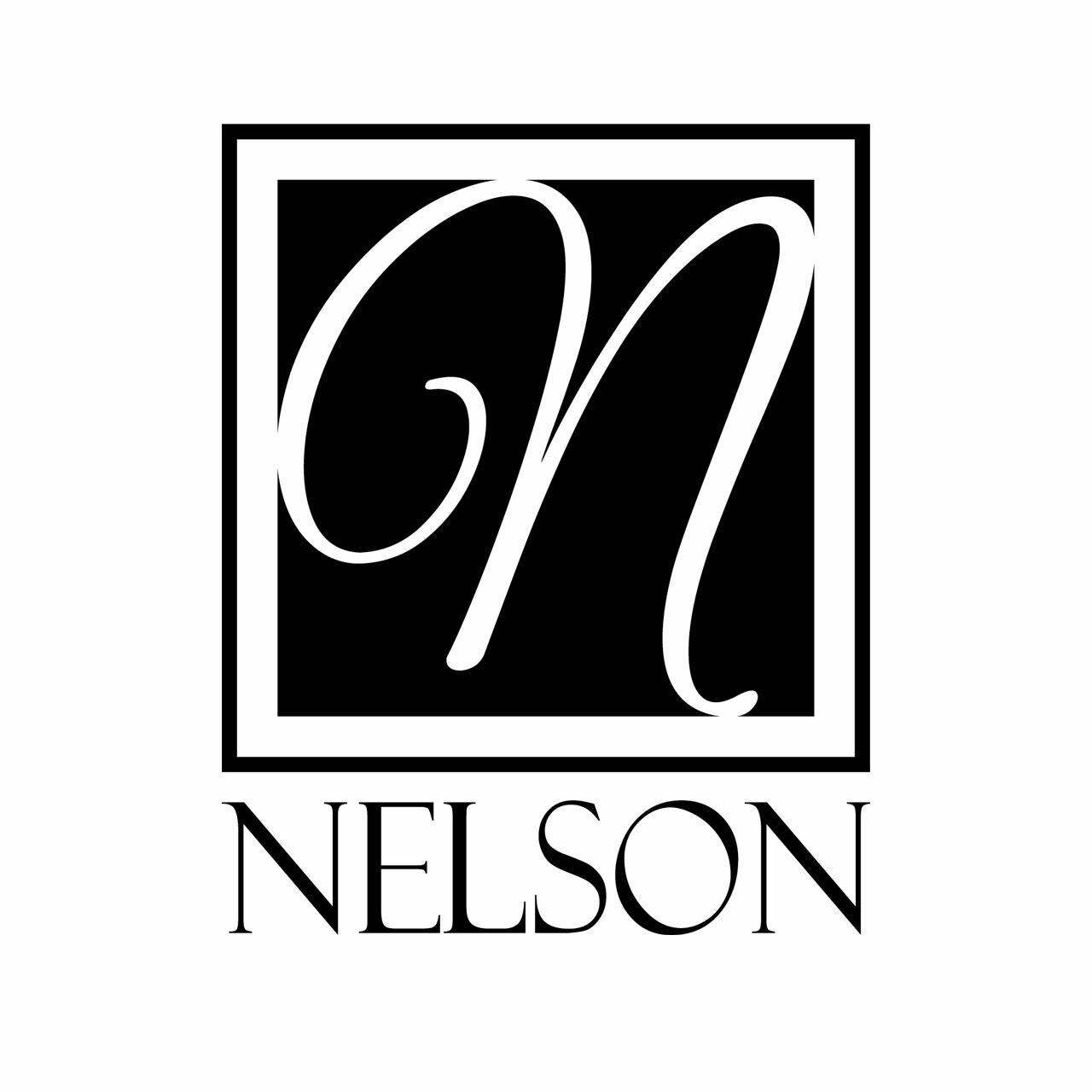 Single letter monogram in a square with the letter N centered over the last name NELSON in black on a white background