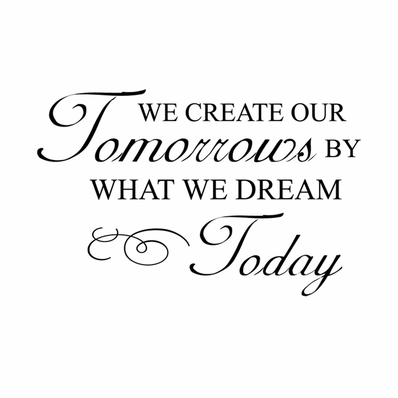 We create our tomorrows by what we dream today vinyl wall saying in black on white wall over couch with blue cushions
