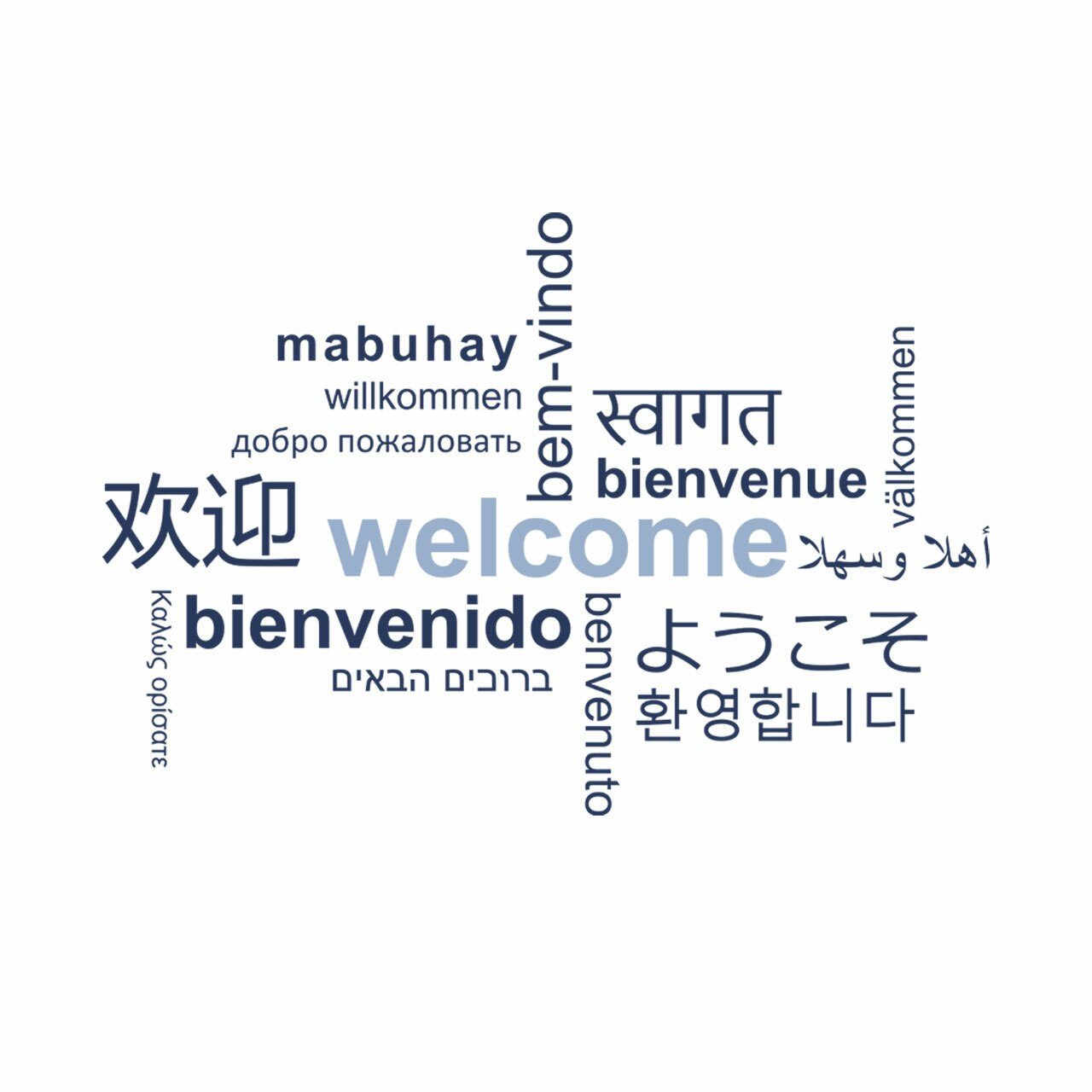 Welcome word cloud in multiple languages navy blue and sky colored vinyl lettering on white background