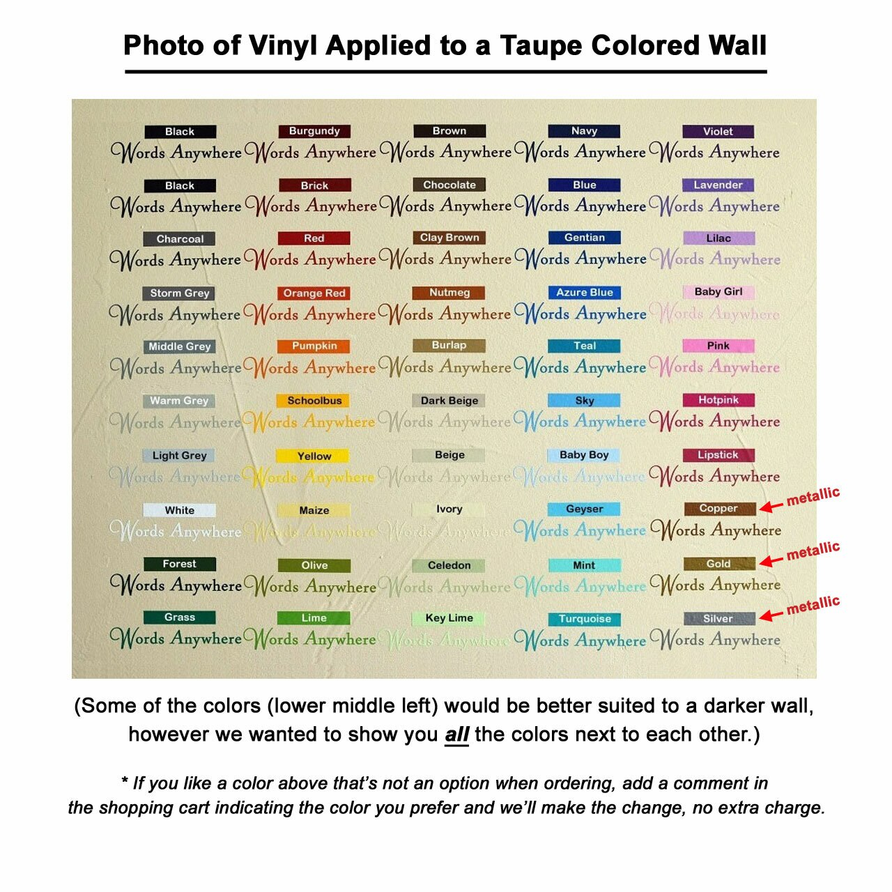 Photo of all vinyl colors applied to a taupe colored wall