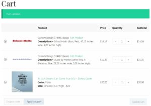Screenshot of sample shopping cart